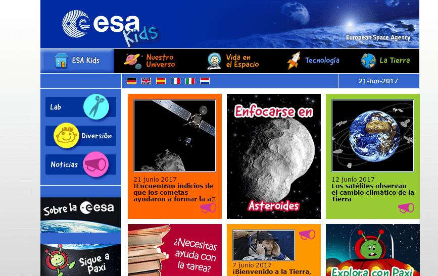 ESA Webs de ciencia para niños